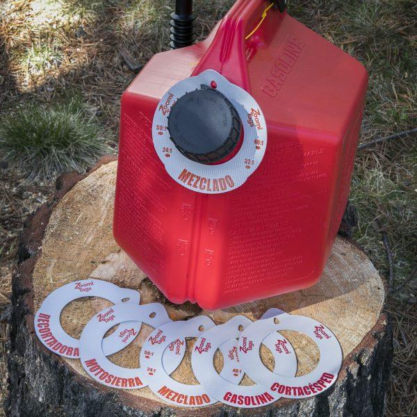 MEZCLADO-Gas-Can-ID-Tag-Stump-Sawdust-Assorted-LARGE-Tags-Spanish