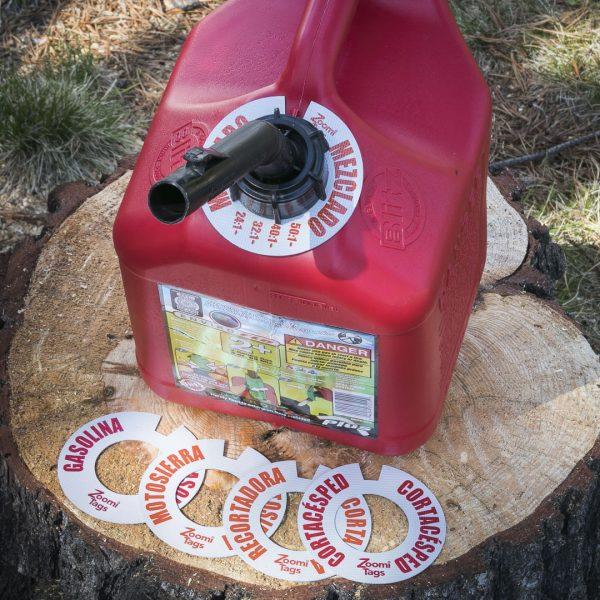 MEZCLADO-Gas-Can-ID-Tag-Stump-Sawdust-Assorted-SMALL-Tags-Spanish