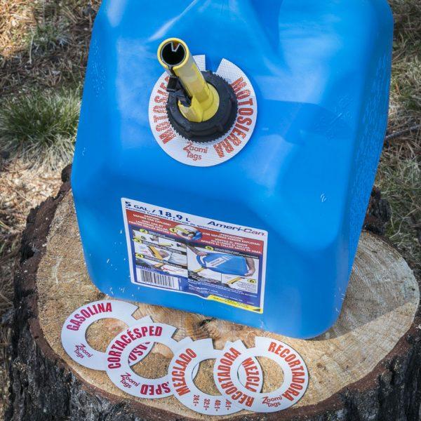MOTOSIERRA-Gas-Can-ID-Tag-Stump-Sawdust-Assorted-SMALL-Tags-Spanish