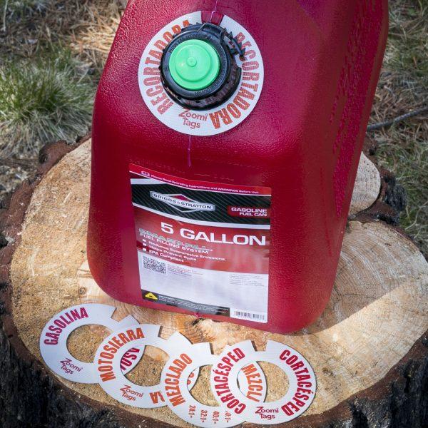 RECORTADORA-Gas-Can-ID-Tag-Stump-Sawdust-Assorted-SMALL-Tags-Spanish